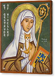 St. Gertrude Of Nivelles Icon Acrylic Print by Jennifer Richard-Morrow