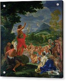 St John The Baptist Preaching Acrylic Print by II Baciccio - Giovanni B Gaulli