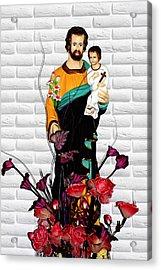 St Joseph Holding Baby Jesus - Catholic Church Qibao China Acrylic Print by Christine Till