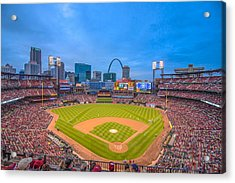 St. Louis Cardinals Busch Stadium Creative Blue Acrylic Print by David Haskett