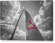 St. Louis Cardinals Busch Stadium Gateway Arch 1 Acrylic Print by David Haskett
