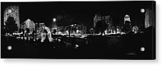 St. Louis City Garden Night Bw For Glass Acrylic Print by David Coblitz