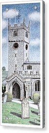 St Michael And All Angels Church Clock  Beetham Cumbria  Acrylic Print by Sandra Moore