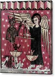 St. Michael Weighing Souls Acrylic Print by Granger