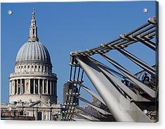 St Pauls Cathedral And The Millenium Bridge  Acrylic Print by David Pyatt