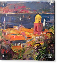 St Tropez Sailing Acrylic Print by Peter Graham