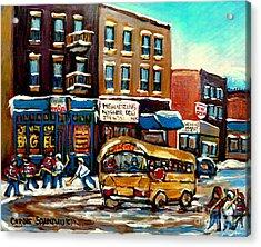St. Viateur Bagel With Hockey Bus  Acrylic Print by Carole Spandau