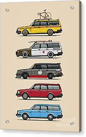 Stack Of Volvo 200 Series 245 Wagons Acrylic Print by Monkey Crisis On Mars