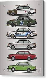Stack Of Volvo 242 240 Series Brick Coupes Acrylic Print by Monkey Crisis On Mars