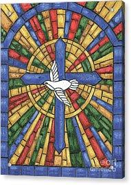 Stained Glass Cross Acrylic Print by Debbie DeWitt