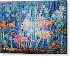 Stained Glass Fish Acrylic Print by Arline Wagner