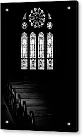 Stained Glass In Black And White Acrylic Print by Tom Mc Nemar