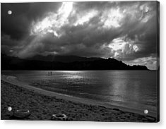 Stand Up Paddlers In Stormy Skies Acrylic Print by Lennie Green