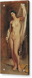 Standing Female Nude Acrylic Print by Theodore Chasseriau