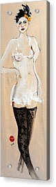 Standing Nude In Black Stockings With Flower And Bird In Hair Acrylic Print by Susan Adams