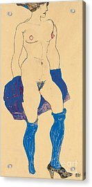 Standing Woman With Shoes And Stockings Acrylic Print by Egon Schiele