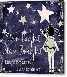 Star Light Star Bright Chalk Board Nursery Rhyme Acrylic Print by Mindy Sommers