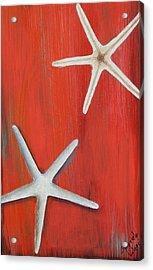 Starfish On Red Acrylic Print by Gabriela Valencia
