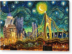 Starry Night In Pittsburgh Acrylic Print by Frank Harris