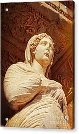 Statue At The Library Of Celsus Acrylic Print by HD Connelly