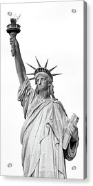 Statue Of Liberty, Black And White Acrylic Print by Sandy Taylor