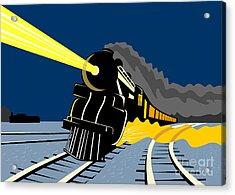 Steam Train Night Acrylic Print by Aloysius Patrimonio
