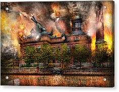 Steampunk - The War Has Begun Acrylic Print by Mike Savad