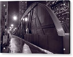 Steel Bridge Chicago Black And White Acrylic Print by Steve Gadomski
