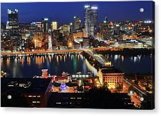 Steel City At Blue Hour Acrylic Print by Frozen in Time Fine Art Photography