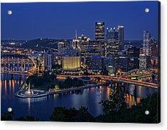Steel City Glow Acrylic Print by Rick Berk