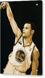 Stephen Curry Golden State Warriors   Acrylic Print by Michael  Pattison