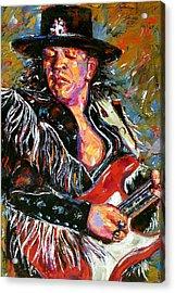 Stevie Ray Red Guitar Acrylic Print by Debra Hurd