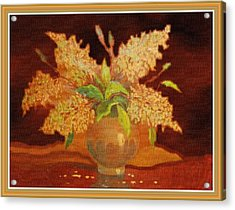 Still Life For Mathilda H B With Decorative Ornate Printed Frame. Acrylic Print by Gert J Rheeders
