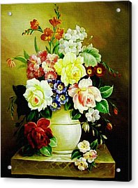 Still Life - In The Old Style H B Acrylic Print by Gert J Rheeders