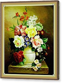 Still Life - In The Old Style H B With Decorative Ornate Printed Frame. Acrylic Print by Gert J Rheeders