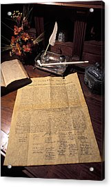 Still Life Of A Copy Of The Declaration Acrylic Print by Richard Nowitz