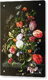 Still Life Of Flowers Acrylic Print by Jan Davidsz de Heem