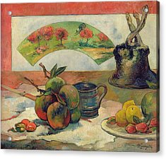 Still Life With A Fan Acrylic Print by Paul Gauguin