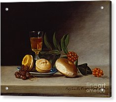 Still Life With A Wine Glass Acrylic Print by Raphaelle Peale