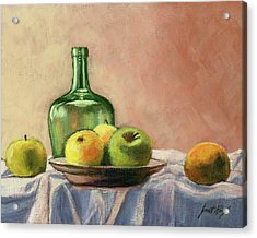 Still Life With Bottle Acrylic Print by Janet King