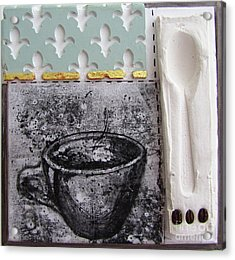 Still Life With Coffee Cup Beans And Spoon Acrylic Print by Peter Allan