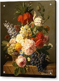 Still Life With Flowers And Fruit Acrylic Print by Jan Frans van Dael