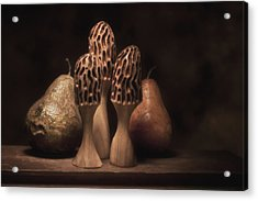 Still Life With Mushrooms And Pears I Acrylic Print by Tom Mc Nemar