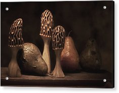 Still Life With Mushrooms And Pears II Acrylic Print by Tom Mc Nemar