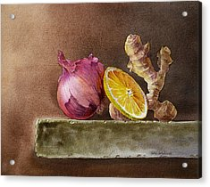 Still Life With Onion Lemon And Ginger Acrylic Print by Irina Sztukowski