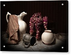Still Life With Pitcher And Grapes Acrylic Print by Tom Mc Nemar