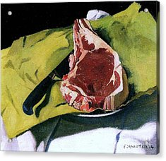 Still Life With Steak Acrylic Print by Pg Reproductions