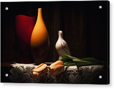Still Life With Vases And Tulips Acrylic Print by Tom Mc Nemar