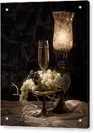 Still Life With Wine And Grapes Acrylic Print by Tom Mc Nemar