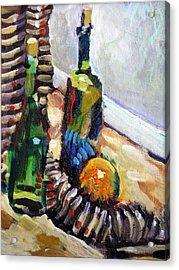 Still Life With Wine Bottles Acrylic Print by Piotr Antonow